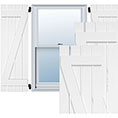 True Fit PVC, Two Board Spaced Board-n-Batten Shutters w/Z-Bar, Unfinished (Per Pair)