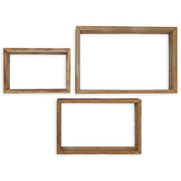 Set of 3, Rectangle Vintage Farmhouse Shadow Box Shelves, Barnwood Decor Collection