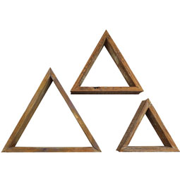 Set of 3, Triangle Vintage Farmhouse Shadow Box Shelves, Barnwood Decor Collection