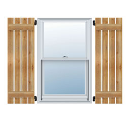 TimberCraft Spaced Board-n-Batten Shutters, Rough Sawn Western Red Cedar (Per Pair)