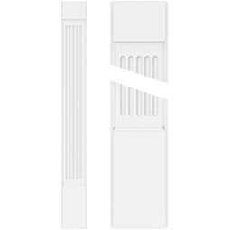 Fluted PVC Pilaster w/Standard Capital & Base (Pair)