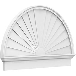Half Round Sunburst Architectural Grade PVC Combination Pediment