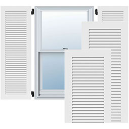 True Fit PVC, All Louver Louver Shutters, Unfinished (Per Pair)