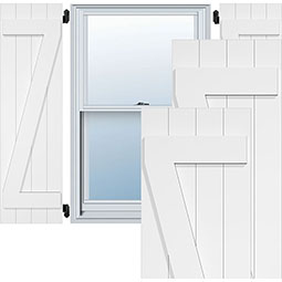 True Fit PVC, Two Board Joined Board-n-Batten Shutters w/Z-Bar, Unfinished (Per Pair)