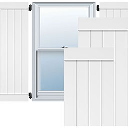True Fit PVC, Two Board Joined Board-n-Batten Shutters w/End Batten Shutters, Unfinished (Per Pair)