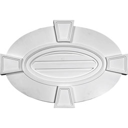 Horizontal Oval Gable Vent Louver with Flat trim & Keystones