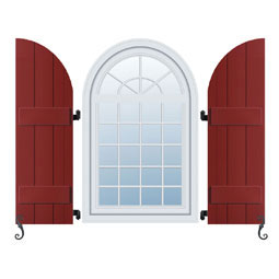 Exterior Arch top Board-n-Batten Shutters