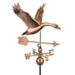 """26""""L x 29""""W x 41""""H Feathered Goose w/ Arrow Weathervane, Pure Copper"""