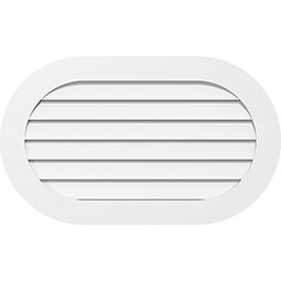 Horizontal Round Ended Surface Mount PVC Gable Vent Standard Frame