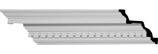 "6 3/8""H x 7 3/4""P x 9 7/8""F x 94 1/2""L Dentil Crown Moulding"