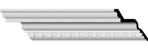 "8 7/8""H x 4 7/8""P x 10 1/8""F x 94 1/2""L Dentil Crown Moulding"
