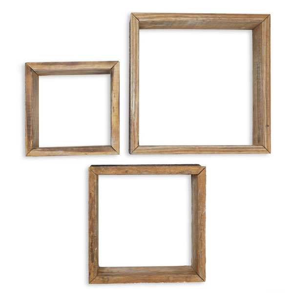 Set Of 3 Square Vintage Farmhouse Shadow Box Shelves Barnwood Decor Collection