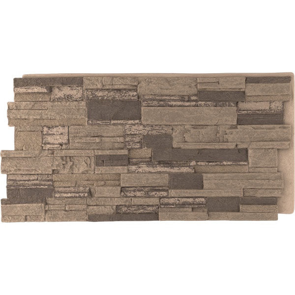 "48 5/8""W x 24 3/4""H x 1 1/4""D Cascade Stacked Stone, StoneWall Faux Stone Siding Panel"