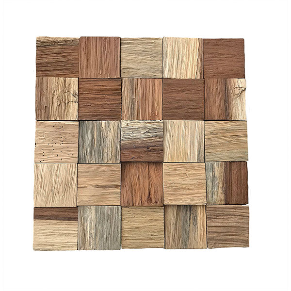"""11 7/8""""W x 11 7/8""""H x 1/2""""P Heritage Boat Wood Mosaic Wall Tile, Natural Finish"""