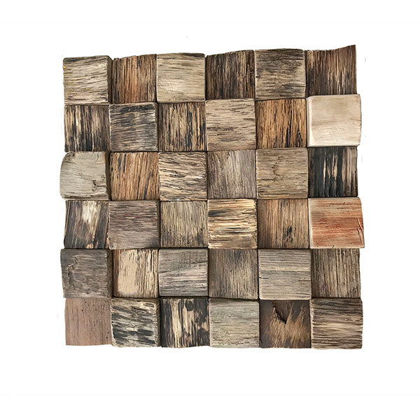 """11 7/8""""W x 11 7/8""""H x 1/2""""P Reclaimed Boat Wood Mosaic Wall Tile, Natural Finish"""