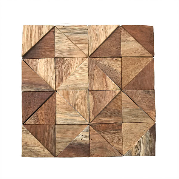 """11 7/8""""W x 11 7/8""""H x 1/2""""P Authentic Boat Wood Mosaic Wall Tile, Natural Finish"""