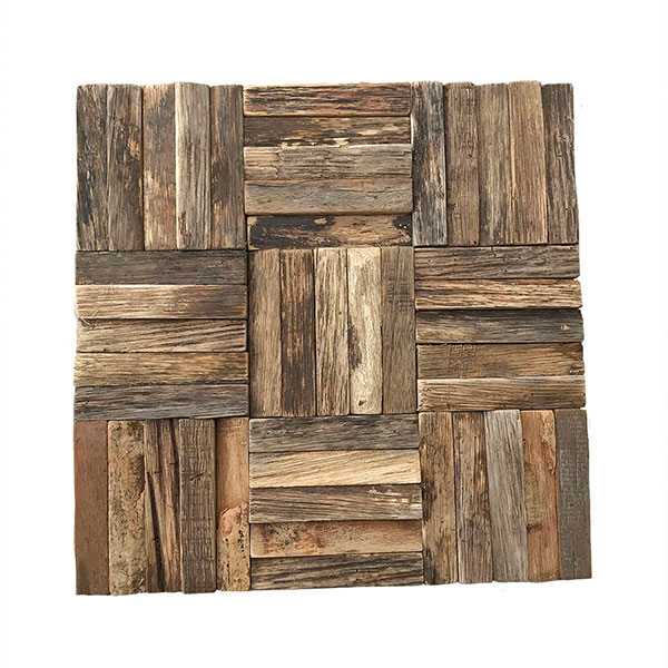 """11 7/8""""W x 11 7/8""""H x 1/2""""P Weave Boat Wood Mosaic Wall Tile, Natural Finish"""