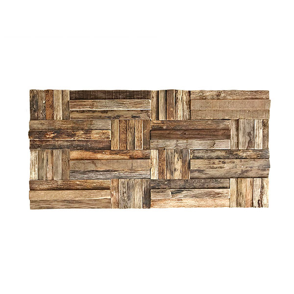 """23 3/4""""W x 11 7/8""""H x 3/4""""P Antique Boat Wood Mosaic Wall Tile, Natural Finish"""
