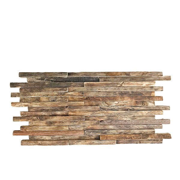 """23 3/4""""W x 11 7/8""""H x 3/4""""P Stacked Boat Wood Mosaic Wall Tile, Natural Finish"""