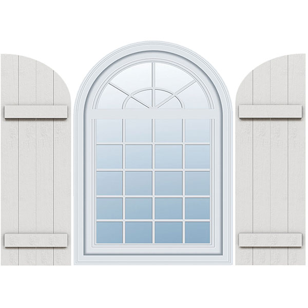 Timberthane Faux Rustic Joined Board-n-Batten Faux Wood Shutters w/Quarter Round Arch Top (Per Pair)