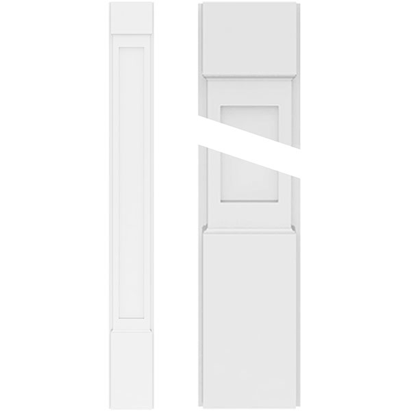 Flat Panel PVC Pilaster w/Standard Capital & Base (Pair)