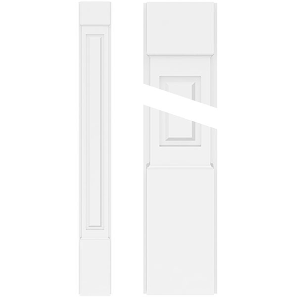 Raised Panel PVC Pilaster w/Standard Capital & Base (Pair)