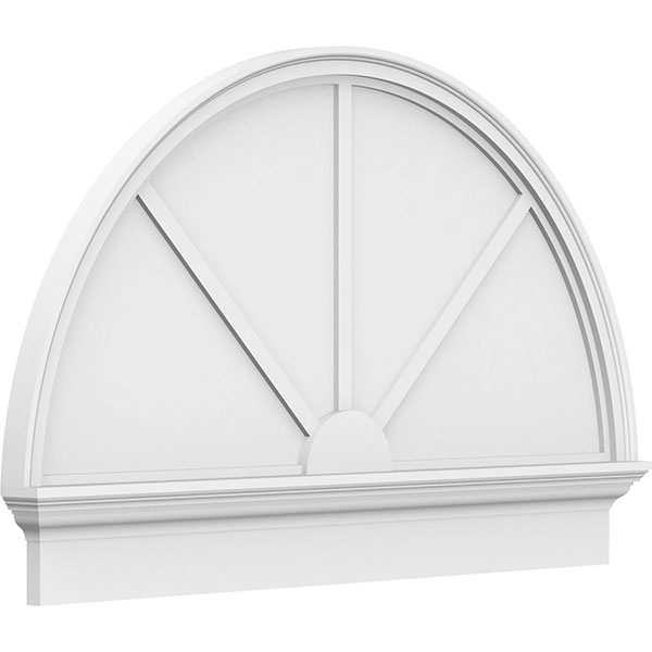 Half Round 3 Spoke Architectural Grade PVC Combination Pediment