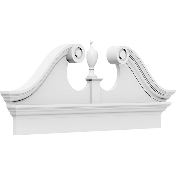 Rams Head Architectural Grade PVC Combination Pediment (Urn Ships Unattached in Box)