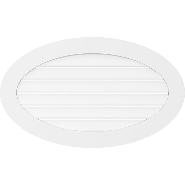 Horizontal Oval Surface Mount PVC Gable Vent Standard Frame