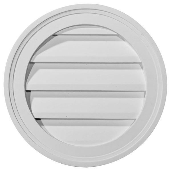 "12""W x 12""H x 1 3/8""P, Round Gable Vent Louver, Decorative"
