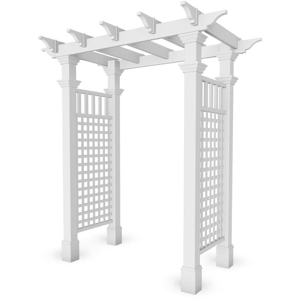 "58""W x 32""D x 86 1/2""H Fairfield Arbor, White"