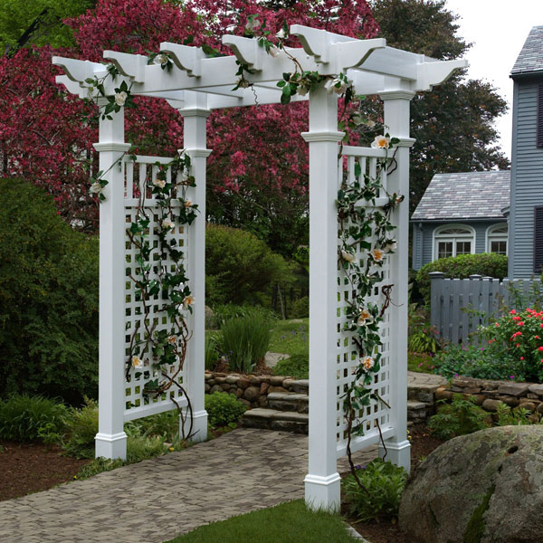 "58""W x 32""D x 86 1/2""H Fairfield Arbor With Trim, White"