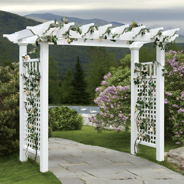 "88""W x 32""D x 86 1/2""H Fairfield Grande Arbor, White"