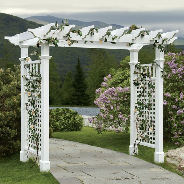 "89""W x 33""D x 86""H Fairfield Grande Arbor With Trim, White"