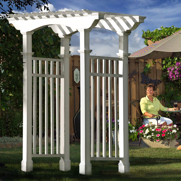 "59""W x 33""D x 93 3/4""H Newport Arbor With Trim, White"