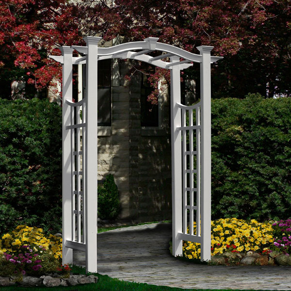"49""W x 24""D x 93 3/4""H Florence Arbor, White"