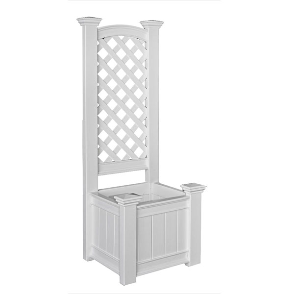 "23""W x 20""D x 63 3/4""H Kensington Planter Box and Trellis, White"