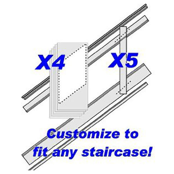 "96""L, Adjustable Height Flat Panel Stair Wainscoting Kit, Primed MDF"