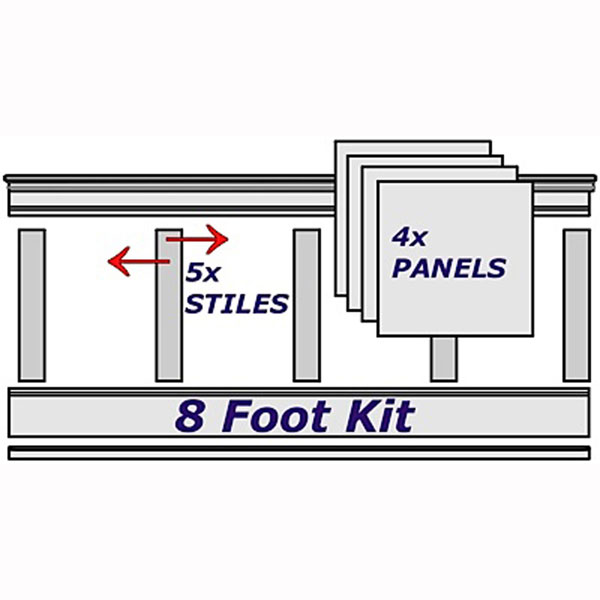 "37""-38""H x 96""L Adjustable Height Flat Panel Wainscoting Kit, Stain Grade Red Oak Veneer"