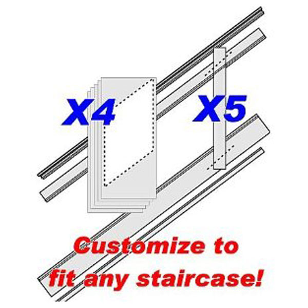 "96""L, Adjustable Height Raised Panel Stair Wainscoting Kit, Primed MDF"