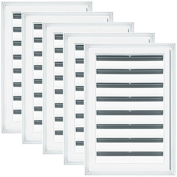 "12""W x 18""H Rectangle Gable Vent Louver, 36 Sq. Inch Vent Area, 001 - White (5/pack)"
