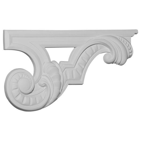 "12 3/8""W x 6 5/8""H x 3/4""D Scroll Stair Bracket, Right"