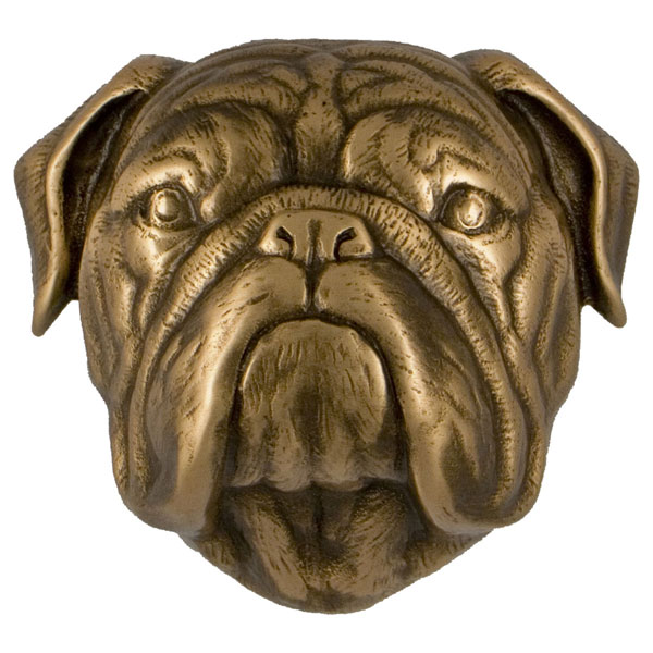 "3""W x 4""D x 4""H Michael Healy Bulldog Door Knocker, Bronze"