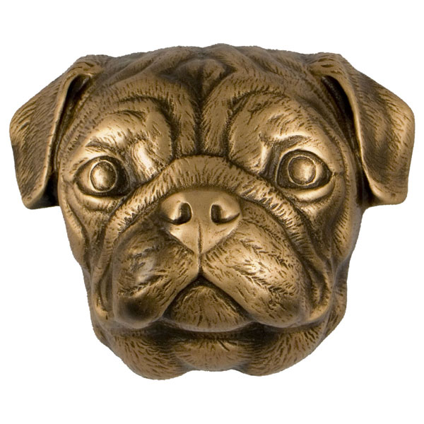 "3""W x 4""D x 4""H Michael Healy Pug Door Knocker, Bronze"