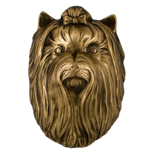 "2""W x 2""D x 5""H Michael Healy Yorkshire Terrier Door Knocker, Bronze"