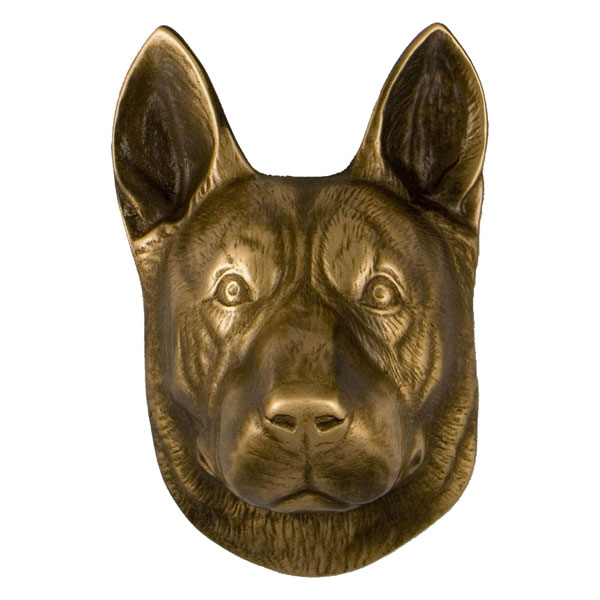 "4""W x 3""D x 5""H Michael Healy German Shepherd Door Knocker, Bronze"