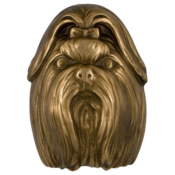 "3""W x 4""D x 4""H Michael Healy Shih Tzu Door Knocker, Bronze"
