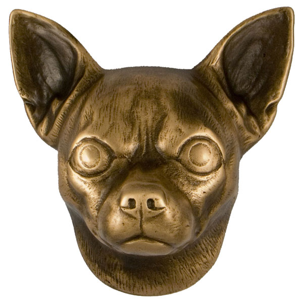 "3""W x 4""D x 4""H Michael Healy Chihuahua Door Knocker, Bronze"