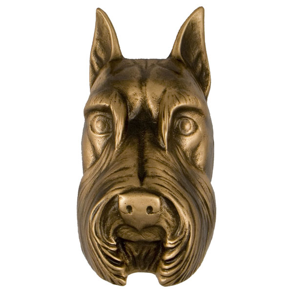 "3""W x 4""D x 4""H Michael Healy Schnauzer Door Knocker, Bronze"