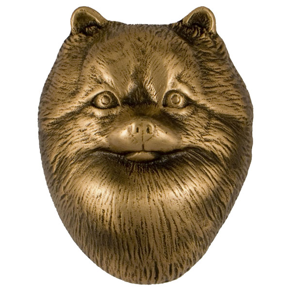 "3""W x 4""D x 4""H Michael Healy Pomeranian Door Knocker, Bronze"